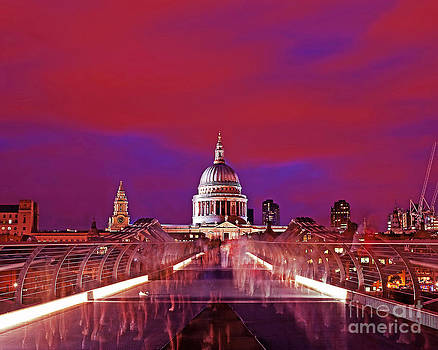 Image St Pauls from Millennium Bridge London at Night by Chris Smith