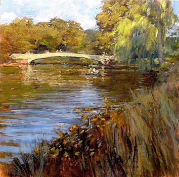 In Central Park - Summer Afternoon near Bow Bridge by Peter Salwen