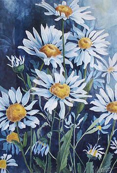 Indigo Daisies by Yvonne Scott