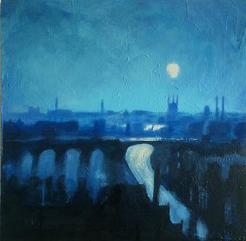 Paul Mitchell - Industrial City Skyline Blue