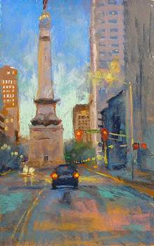Indy Monument at Twilight by Donna Shortt