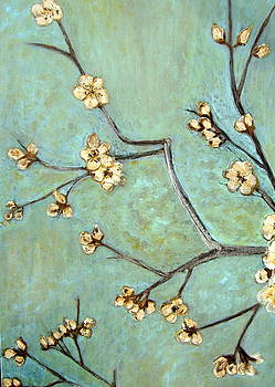 Ivory Blossoms On Blue by Melynnda Smith