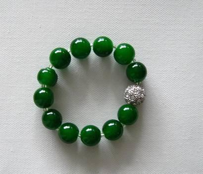 Jade Green Bracelet with Rhinestone by Fatima Pardhan