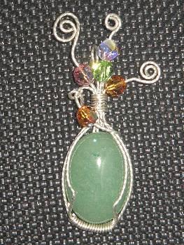 Jade Pendant with Swarovski beads by Nataliya Collister