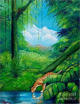 Jaguar drinking water by Jean Pierre Bergoeing