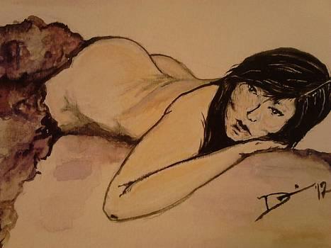 Japanese woman-purple blanket nude by Denise Tanaka