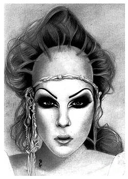 Jeffree Star no1 Original Pencil Drawing by Debbie Engel