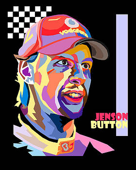 Jenson Button Pop Art Style by Jim Bryson