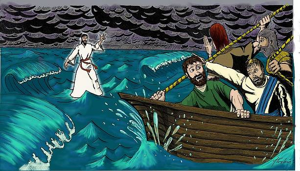 Jesus on the water by John Tompkins