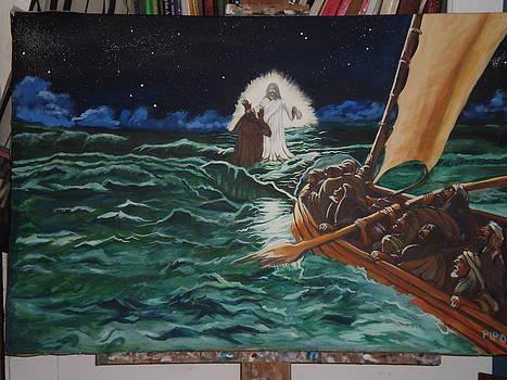 Jesus walking on the Sea by Ricardo Colon