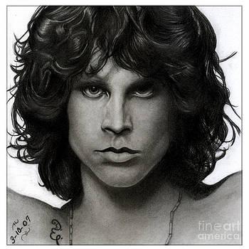Jim Morrison Pencil Drawing by Debbie Engel