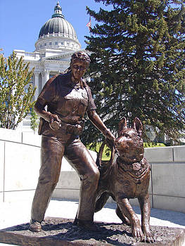 K9 Officer Bronze Memorial Statue by Lena Toritch