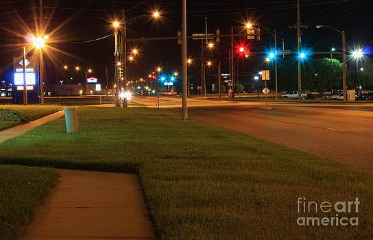 Kansas Street Light's at Night by Robert D  Brozek