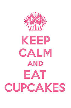 Keep Calm Cupcakes - pink on white by Andi Bird