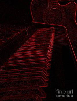 Art Studio - Keyboard and Guitar In Red