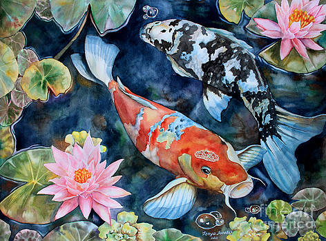 Koi With Water Lilies by Tanya Jacobsz