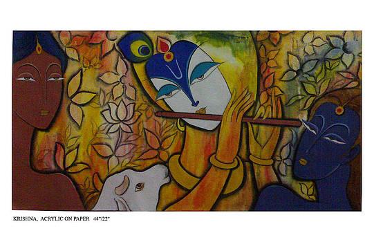 Krishna with gopis by Keshaw Kumar