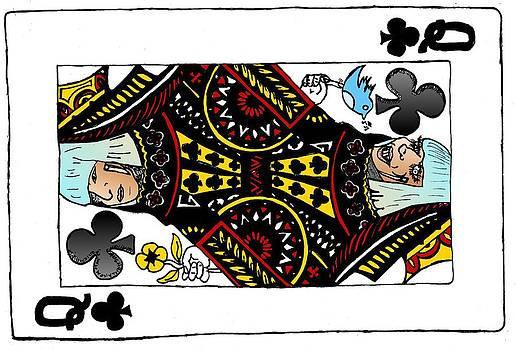 Lady Gaga Queen of Clubs Poker Face Caricature by Yasha Harari