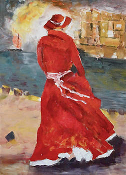 Sold/Lady in Red  by Farid  Fakhriddin 80x60 cm