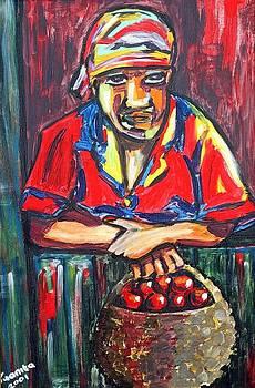 Lady with basket by Juanita Mulder