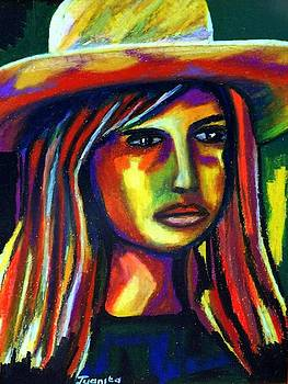 Lady with straw hat by Juanita Mulder
