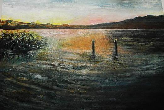 Lake at sunset by Angela
