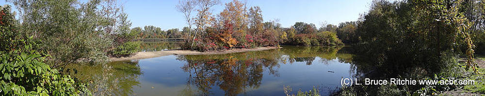 Lake Chipican Panorama in Fall Colours by Bruce Ritchie