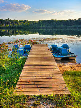 Lake View Paddle Boat Vertical by Jenny Ellen Photography