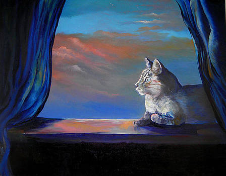 Late afternoon cat in window by Steven Linebaugh