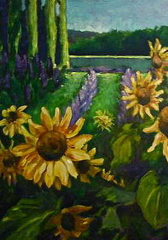 Lavender and Sunflowers by Paula Strother