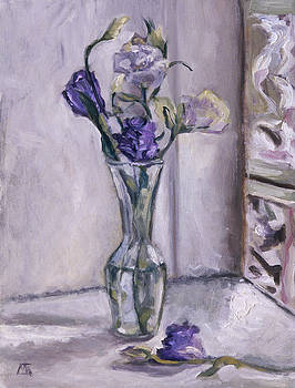 Lavender Flowers in a Glass Vase with Glass Block Window by Mary Gingrich