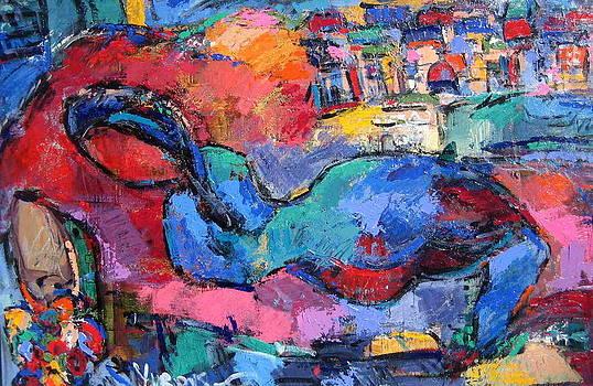Laying Blue Nude by Len Yurovsky
