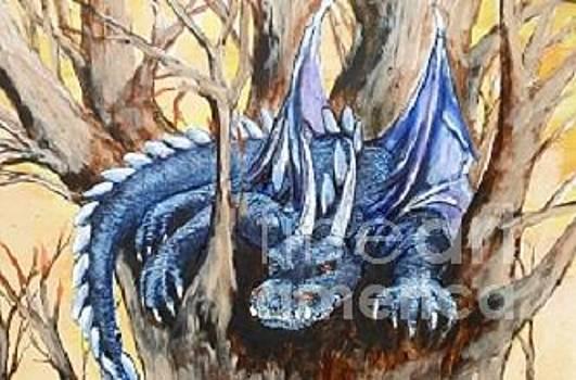 Lazy Blue Drako by Maria Elena Gonzalez