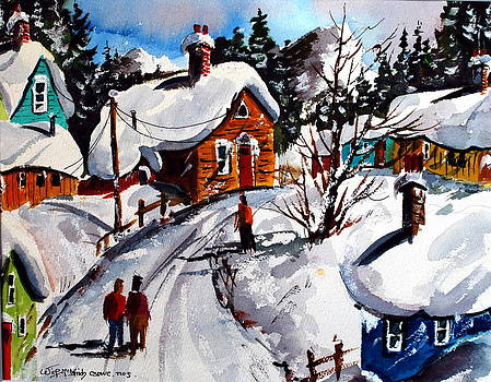 Le Village Gran Mere l'heiver by Wilfred McOstrich