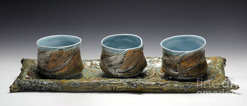 Leaf Tray with Yunomis by Mark Chuck