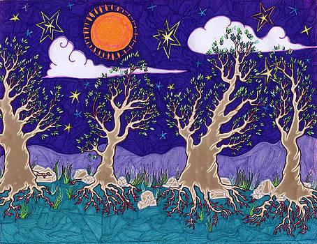 Leaves Under Night Sky by James Davidson