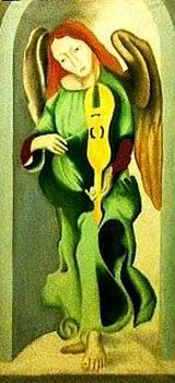 Left Side Panel Angel - Virgin of the Rocks by Ronald Lee