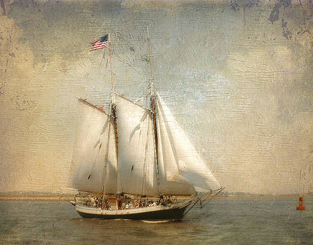 Liberty Clipper on Boston Harbor by Karen Lynch