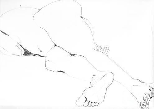 Liegender Akt2 by Roswitha Schmuecker