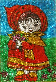 Little  Girl - Glass Painting by Rejeena Niaz