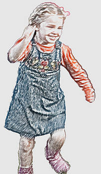Little Girl in Denim Dress by Carolyn Meuer-Pickering of Photopicks Photography and Art