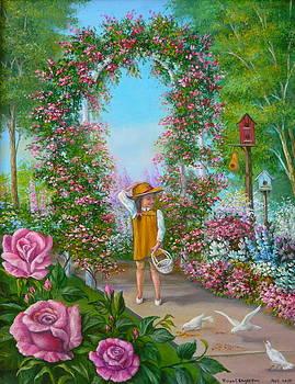 Little Girl in Rose Garden by Vivian Eagleson