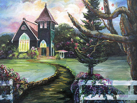 Little Green Church Hanalei Kauai by Peggy Mars