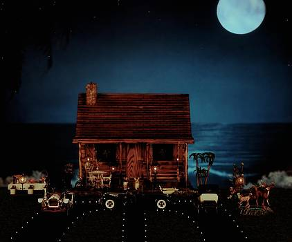 LOG CABIN midnight ocean view with full moon by Leslie Crotty