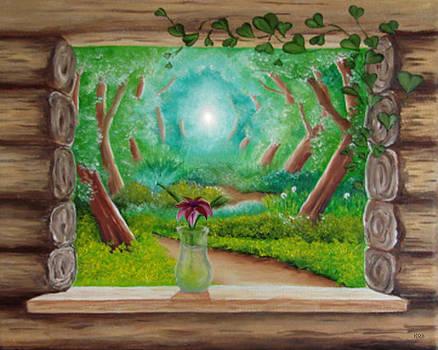 Log Cabin Window by Karen R Scoville