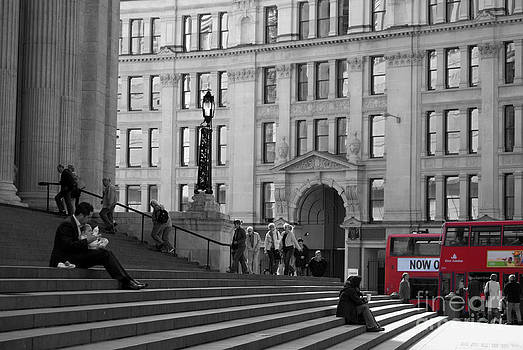 London Buses and the Steps of St Paul's by Serena Bowles
