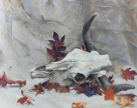 Longhorn with Leaves by Roger Clark