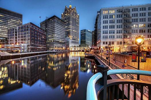 Looking from the Wells Street Bridge at Twilight by John December