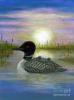 Loon Babies on Mother's Back Judy Filarecki by Judy Filarecki