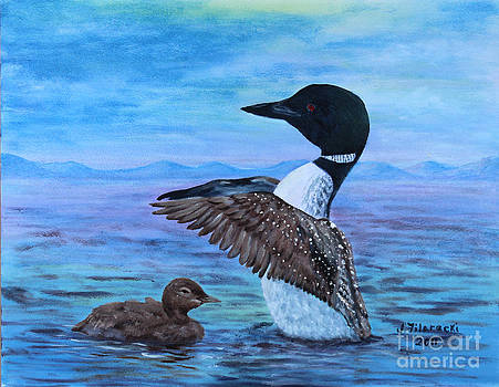 Loon Mother and Baby by Judy Filarecki